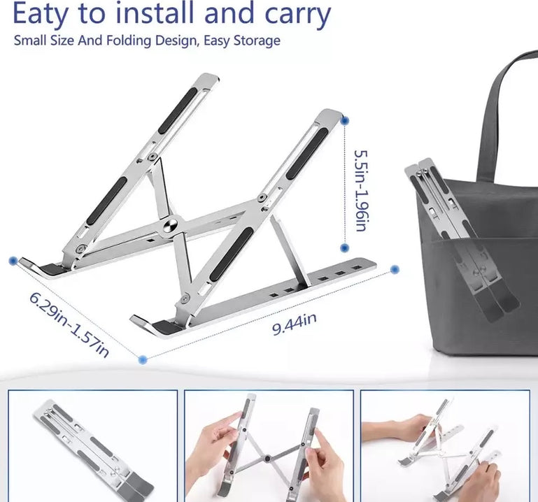 Adjustable Laptop Stand, Steel and Plastic Laptop Holder, 6 Levels Height Adjustment Laptop Holder