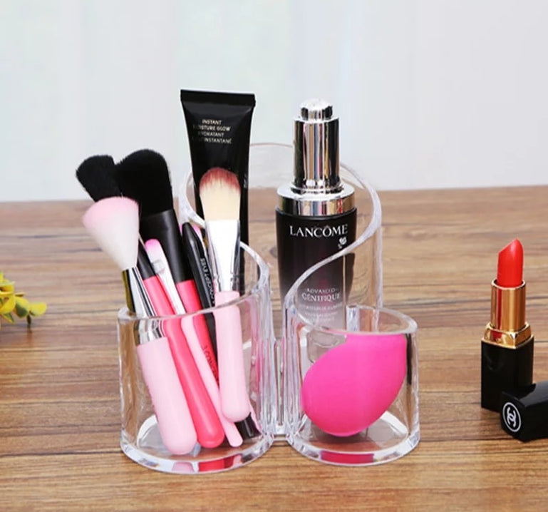 Acrylic Makeup and Brush Holder, Wavy Acrylic Makeup Brush and Cosmetic Holder, Makeup Brush Organizer