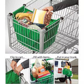 Set of 2 Large Capacity Foldable Reusable Handbags, Supermarket Trolley Shopping Bags, Stretchable Non-Woven Grocery Bags