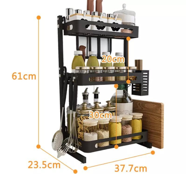 2/3 Tier Kitchen Spice Rack Utensil Holder, Countertop Freestanding Shelf Organizer, Kitchen Storage Rack