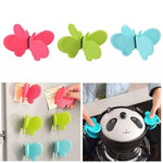2 Pcs Butterfly Shaped Silicone Dish Clip, Anti-Scald Kitchen Tool Clamps, Silicone Pot Clip