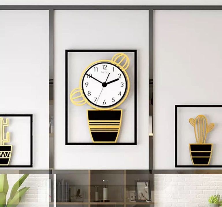 Creative Cactus Style 3pcs Luxury Wall Clock