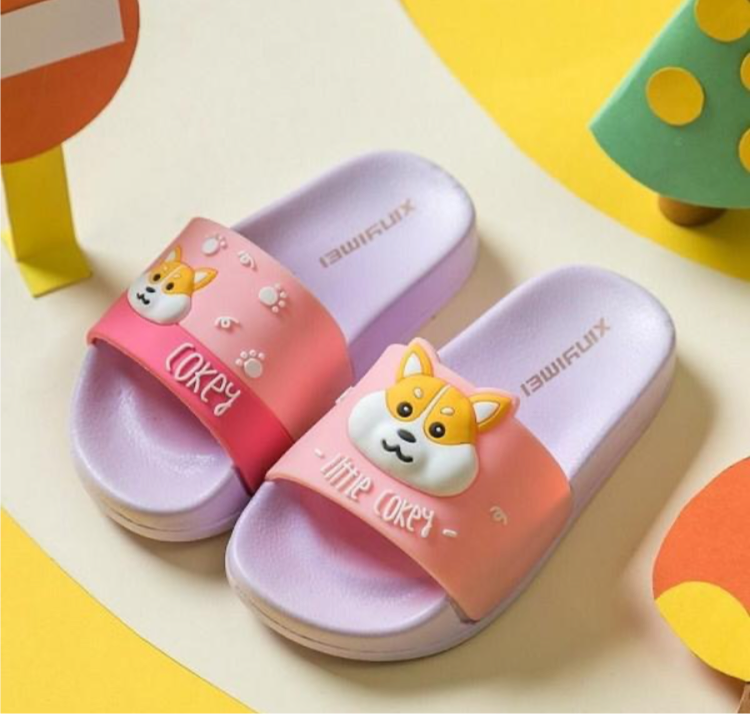 Kids Slide slippers, Cute Cartoon Beach Pool Slippers, Slippers for Baby Indoor Home, Soft Slipper, little kids slipper, Dog slide slippers