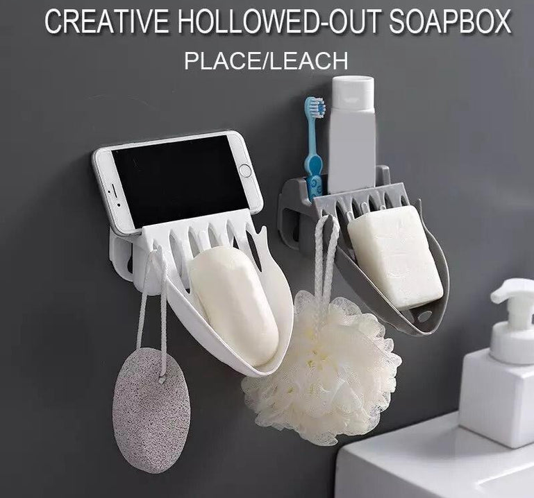 Creative Soap Rack, Wall Hanging Simple Drain Soap Rack, Toothpaste and brush holder, Wash Basin Organizer