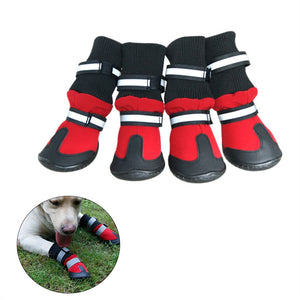 Dog Shoes - Rain or  Snow Boots Anti Slip Rubber Sole in Red Color