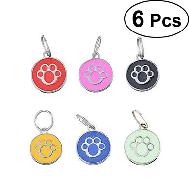 Pet ID Tags - Set of Six  Colorful Glazed Metal Discs With Paw Print - Be Good To Your