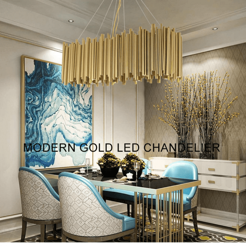 Modern Luxury Gold High Low Ceiling Dining Room Pendant Light Code