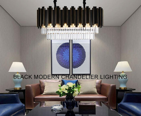Rectangle Modern Crystal High Low Ceiling Dining Room Chandelier Code Chn30204