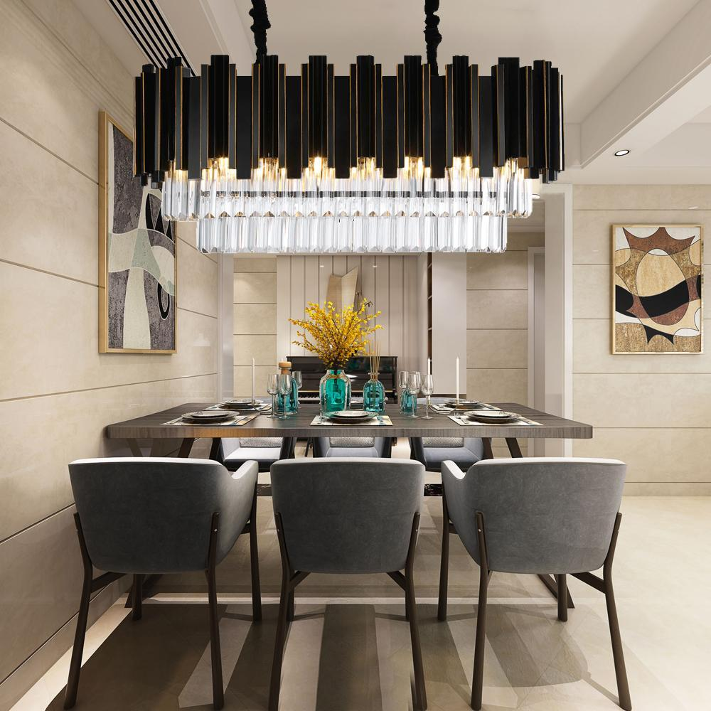 Low Ceiling Dining Room Chandelier: Rectangle Modern Crystal High/Low Ceiling Dining Room