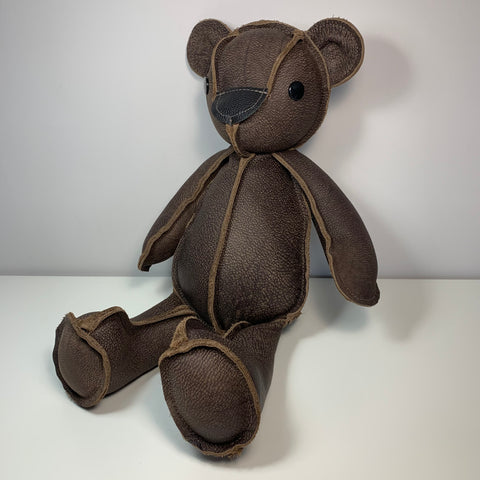 "Inside-Out Bear 18"" DARK BROWN LEATHER"