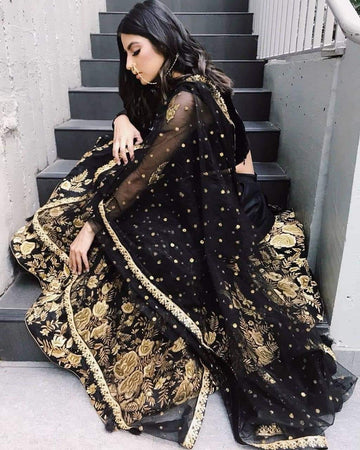 Embroidered Black Circular Lehenga Choli Ghagra