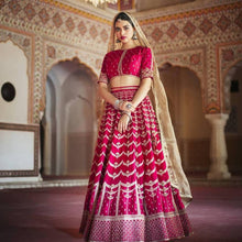Red Lehenga with White Embroidery