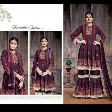 Digital Print Georgette & Heavy Santoon Dress