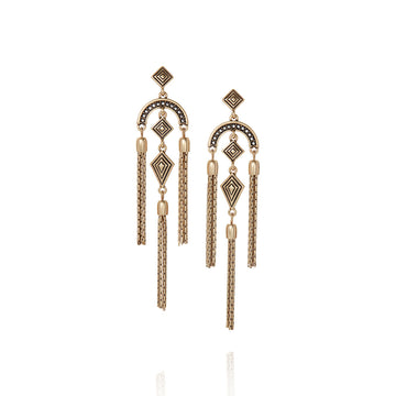 Sunlit Savanna Statement Tassel Earrings