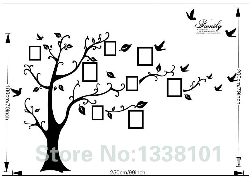 Black 3D DIY Photo Tree PVC Wall Decals/Adhesive Family Wall Stickers Mural Art Home Decor 200*250Cm/79*99in