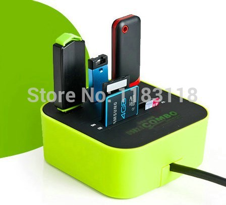 HUB 3 port usb 2.0 HUB with Micro multi card reader for SD/MMC/M2/MS/MP Computer Accessories