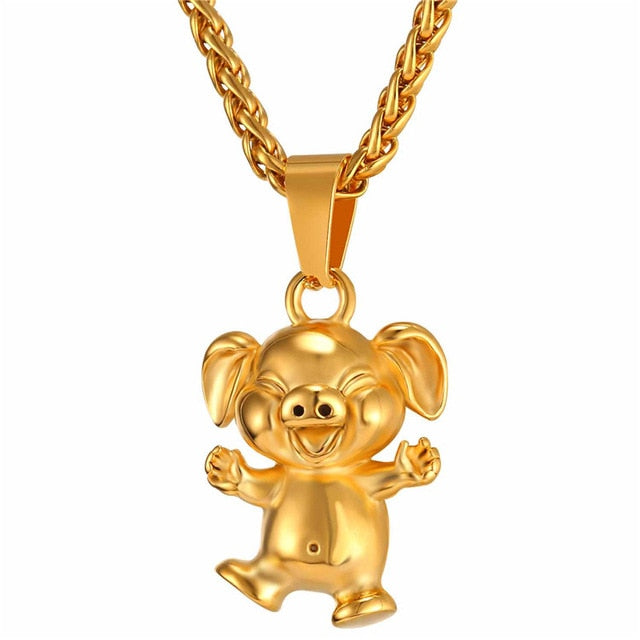 Cute Little Pig old Animal Pendant Necklace Gift