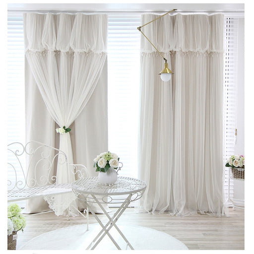 Tassels blackout curtain cloth curtain+voile sheer tulle curtains for living room bedroom curtain window drapes panels