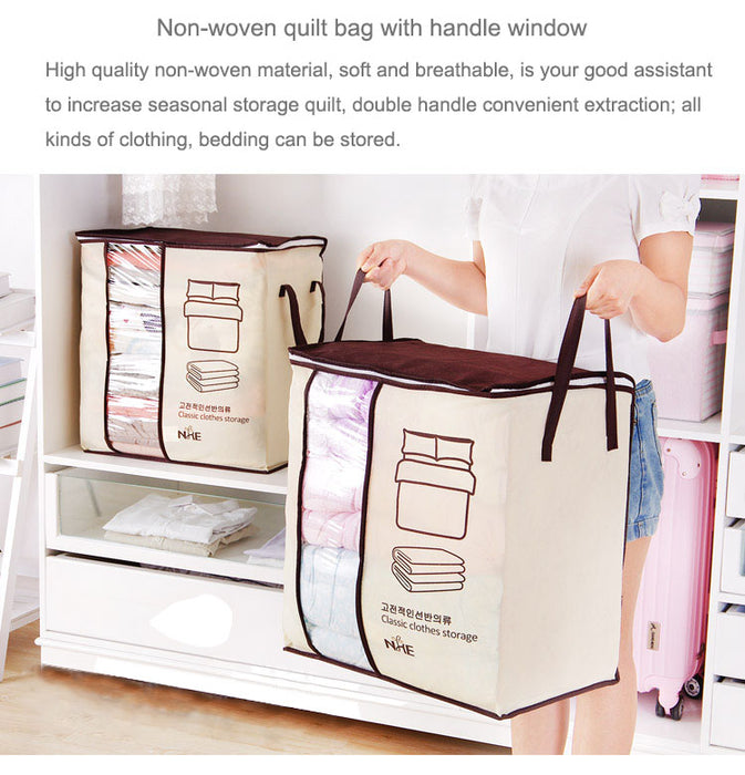 Portable Clothes Storage Bag Organizer/Folding Closet Organizer For Pillow Quilt Blanket Bedding Size: 18in X 12in X 21in