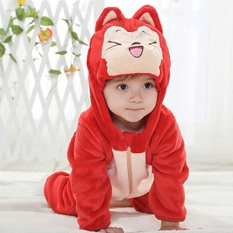 Baby rompers hello kitty girls clothes new born baby Cartoon pajamas warm winter animal Pajamas roupas de bebe recem nascido