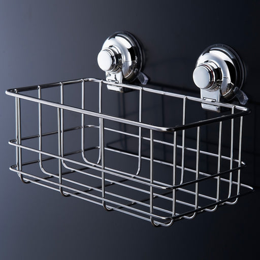Stainless Steel Strong Suction Shower Basket Dual Sucker Bathroom Shelf Washing Room/Kitchen Cor Corner Basket Wall Mounted Rack