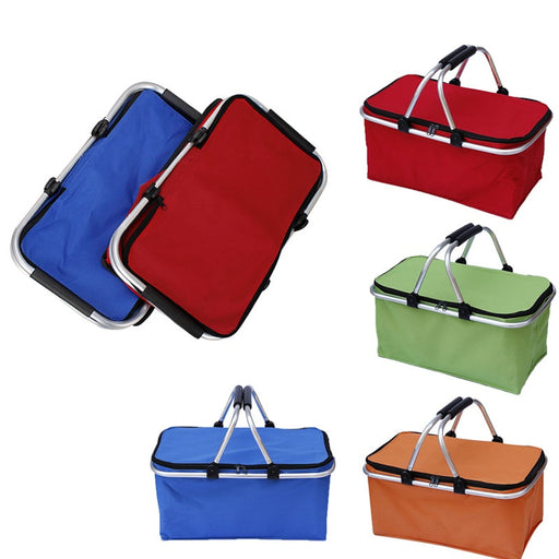 Folding Picnic Camping Shopping Basket Insulated Cooler Cool Hamper Zip Hand Bag Waterproof Bags TB Sale
