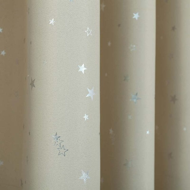 Star Pattern Modern Window Curtain for Living Room Bedroom Thick Night Curtains Drapery