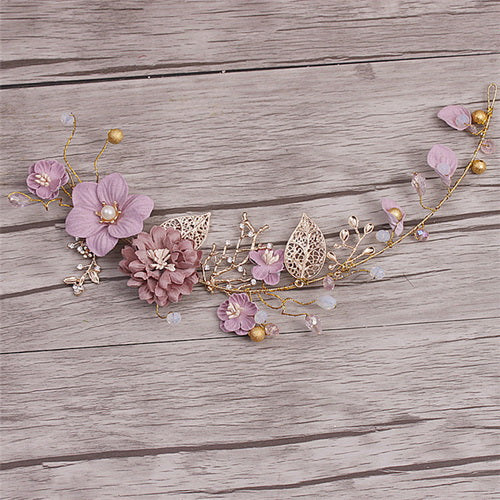 Handmade Party Hair Decoration Ornaments Gold Purple Series Bride Headdress Handmade Bridal Party Wedding