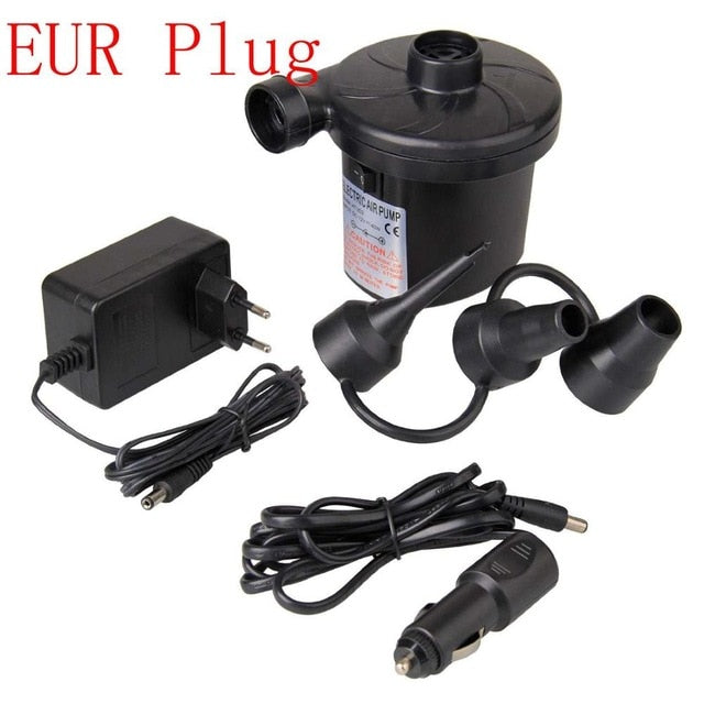 Electric Air Pump DC12V/AC230V Inflate Deflate Car Electropump with 3 Nozzles US Plug EUR Plug plus 12V car connection cable
