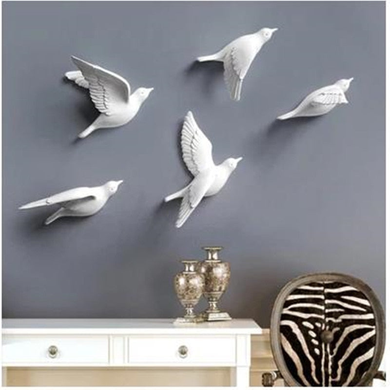 Resin bird creative wall murals, wall decoration, simple 3-D bedroom wall stickers, TV background wall decorations