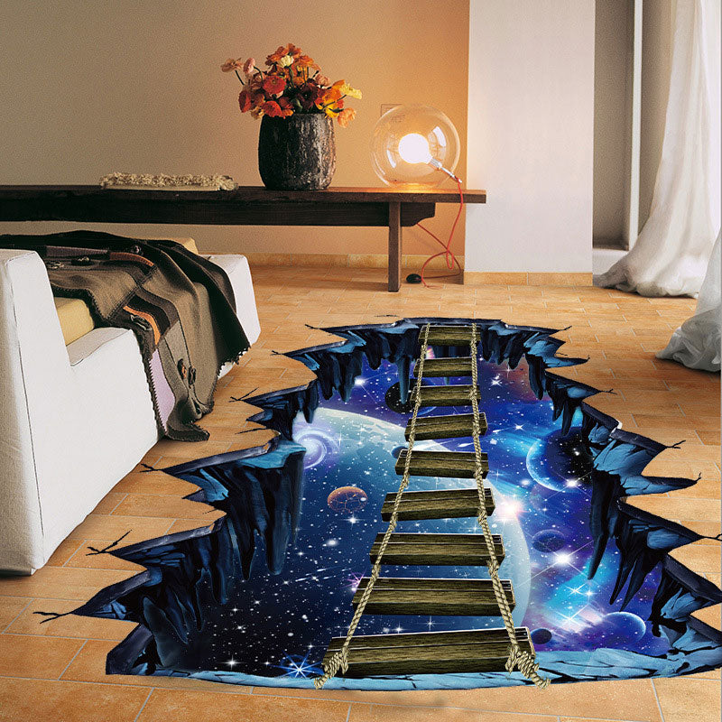 Large 3D Cosmic Space with Bridge Wall/Floor Sticker Home Decoration for Kids Room Wall Decals