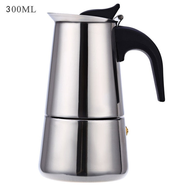 Stainless Steel Stove-top Coffee Maker Pot for Mocha Espresso Latte