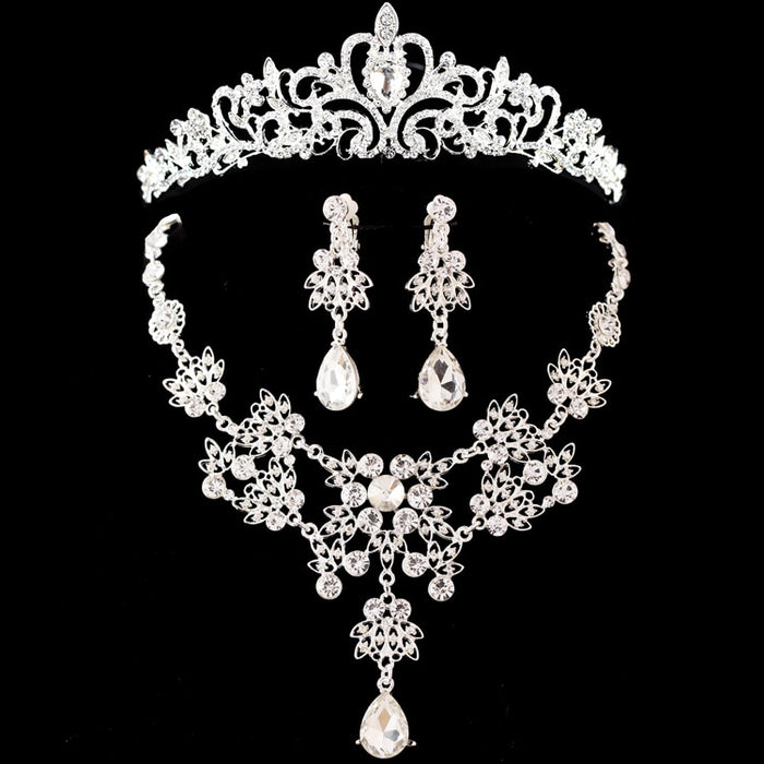 Noble Crystal Bridal Jewelry Sets Silver Fashion Wedding Jewelry Tiara Necklace Earrings for Brides Bridesmaids
