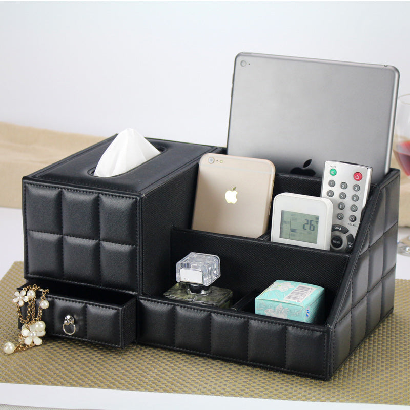 Black Leather PU Vintage Office Storage Box