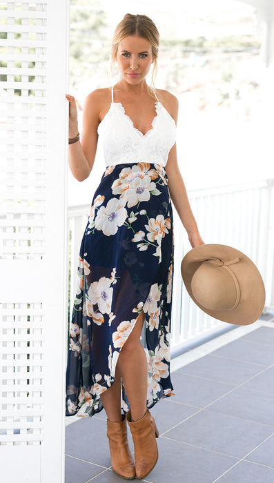 Summer style women lace long flower print patchwork dresses sexy V nack women lace dress