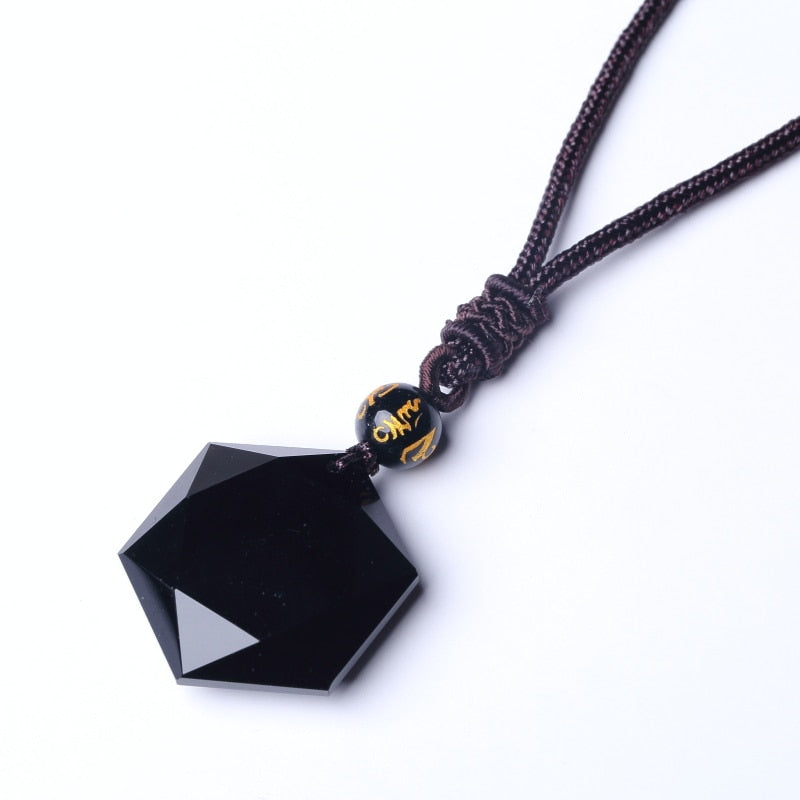Black Six Awn Star Pendant Necklace Obsidian Jade Star Jewelry