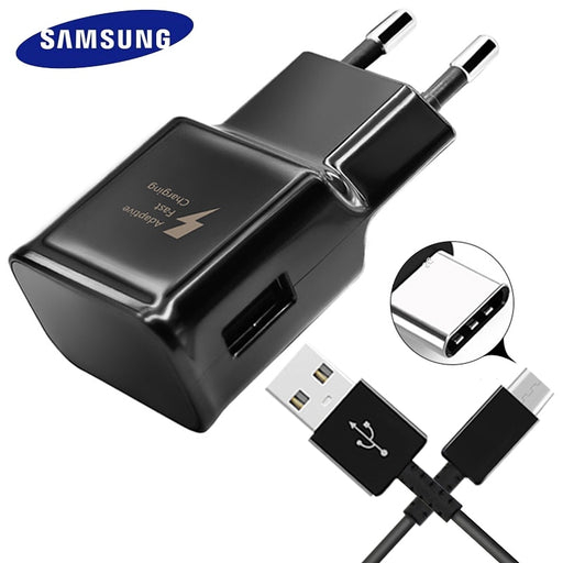 Samsung S8 S9 Plus S8  Fast Original Wall Charger Quick Travel Adapter Charge 1.2M Type C Cable