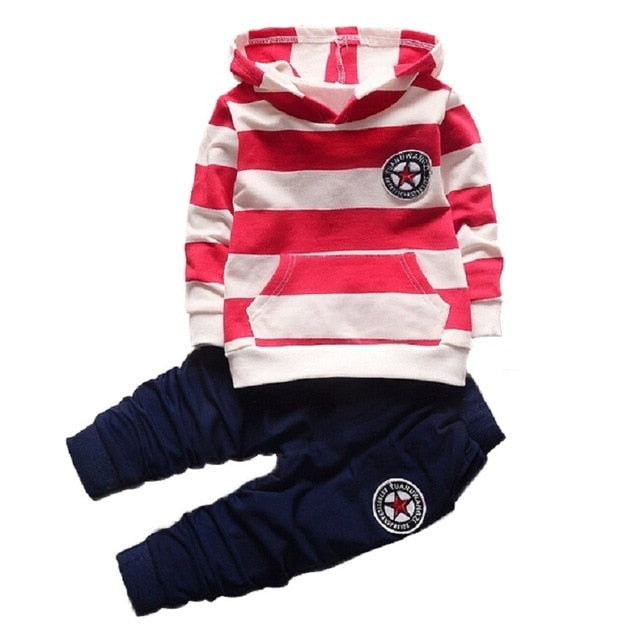 Fashion Girl Boys Children Clothing Sets Long Sleeve Striped Hoodies Unisex Suits 2pcs