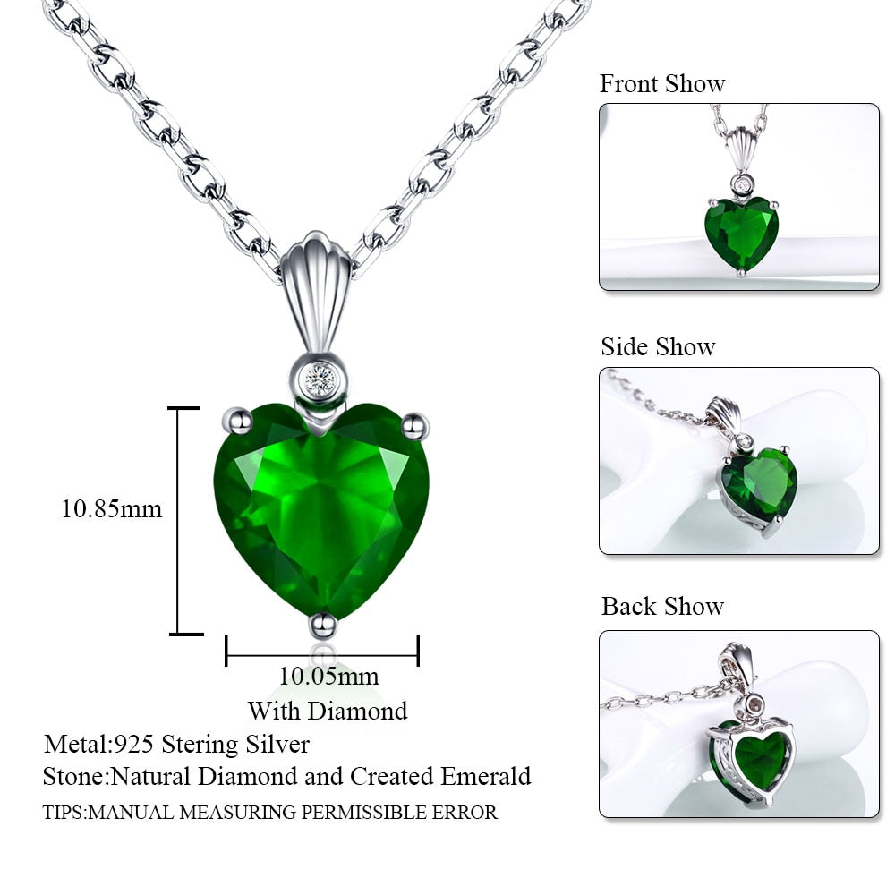Sterling Silver 925 Emerald Necklace & Sapphire heart Pendant Ruby jewelry for women