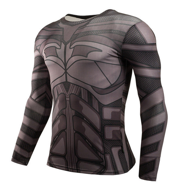 Men's Superman/3D Justice Fashion Compression Long Sleeve T-Shirt Running Tops for Fitness/Gym/Sports Shirt Men - Part 1
