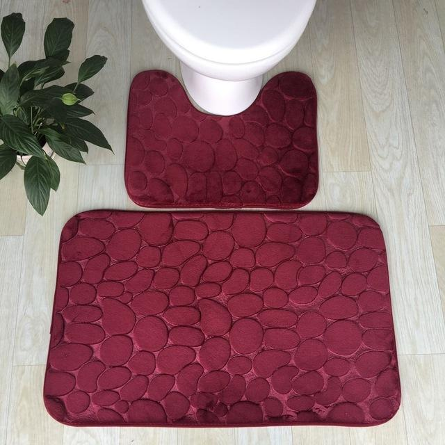Bath Mats 3D Stone Memory Foam 2pcs Set Anti-Slip Floor Mats Bathroom Toilet Rugs
