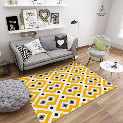 Nordic Style Geometric Marble Pattern Carpet Living Room Rug Sofa Coffee Table Mat Bedroom Yoga Pad Rectangular