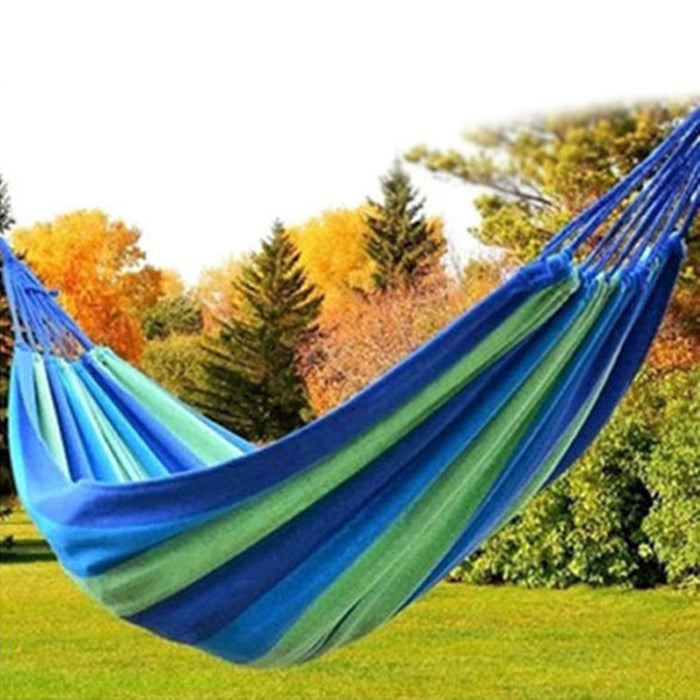 Strong Outdoor Picnic Garden Hammock Hang Bed Portable Travel Camping Swing Canvas Stripe Hang Bed Furniture Hammock