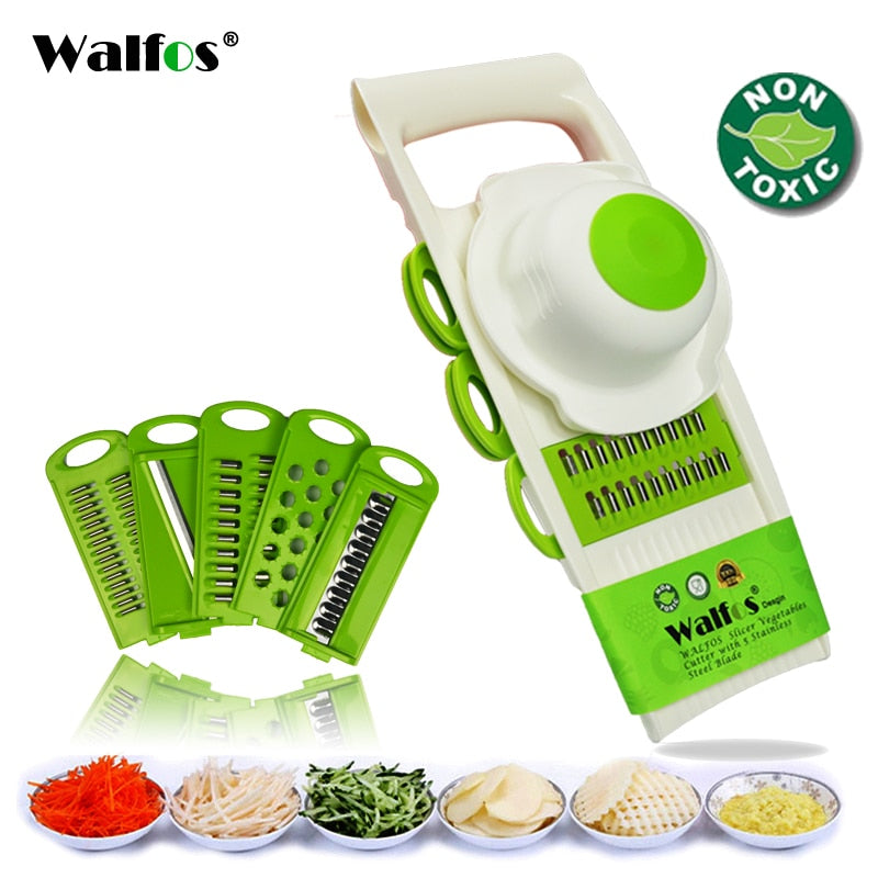 WALFOS Mandoline Fruit and Vegetable Peeler Grater Cutter Tools with 5 Blades