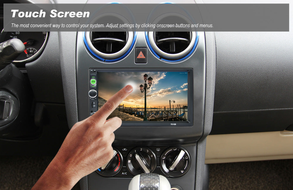Car Large 7 Inch LCD HD Touch Screen Audio Stereo MP5 Player, Bluetooth, 2.0 Hands-free Call, FM Radio, Micro SD cards slot, USB, Remote Control