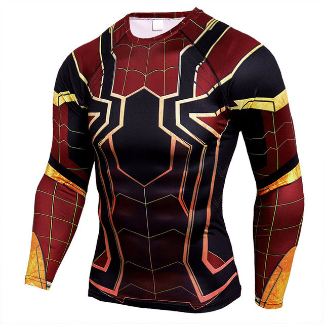Men's Superman/3D Justice Fashion Compression Long Sleeve T-Shirt Running Tops for Fitness/Gym/Sports Shirt Men - Part 2