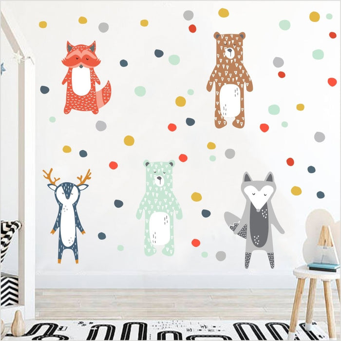 Nordic Style Cartoon Giraffe Bear Fox Wall Sticker For Kids Rooms Decoration Forest Animals Art Decal Wall Decor
