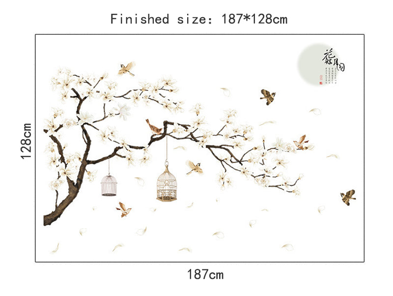Big Size Tree Wall Stickers Birds Flower Home Decor Wallpapers for Living Room Bedroom  DIY Vinyl Rooms Decoration (187*128cm )