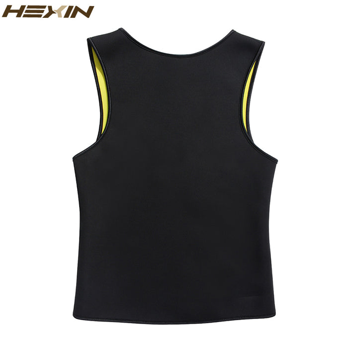 HEXIN Men's Sweat Vest Body Shaper Shirt Hot Thermo Slimming Sauna Suit Weight Loss Black Shapewear Ultra Neoprene Waist Trainer