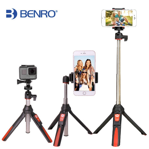 BENRO Handheld Extendable Tripod Selfie Stick 3 in 1 Bluetooth for iPhone 8 Samsung and GoPro 4 5